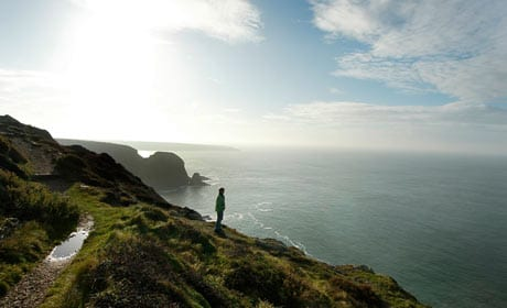 Walking along Coast near South Stack Lighthouse, Anglesey